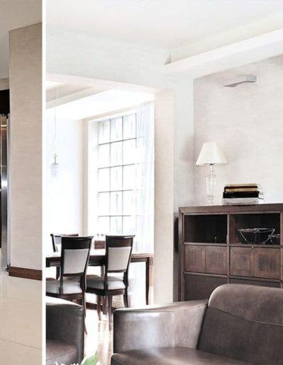 12-4 Format Design, projekt domu jednorodzinnego, projekt kuchni, kuchnia, płytki , wypoczynek, lama wisząca, komoda
