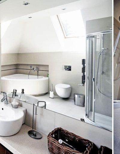 12-5 Format Design, projekt domu jednorodzinnego, projekt łazienki, łazienka, wanna, kabina prysznicowa, umywalka, bateria sztorcowa, kamienny blat