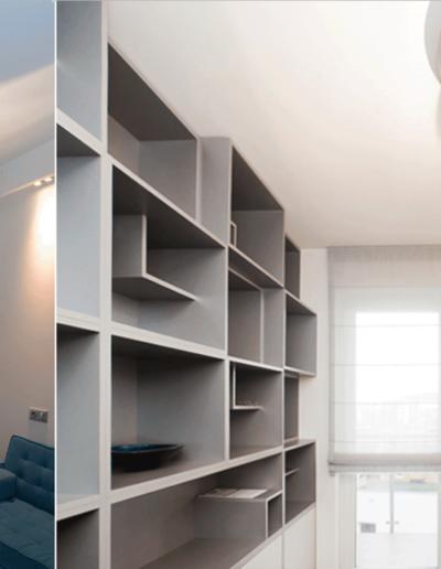 13-13 Format Design, projekt mieszkania, projekt pokoju, pokój gościnny, łóżko, lampy wiszące, szafki, rolety, biurko