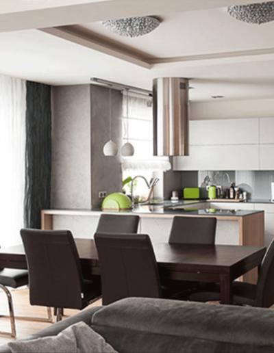 13-4 Format Design, projekt apartamentu, projekt kuchni, kuchnia, wypoczynek, wyspa kuchenna,szafki kuchenne, wystrój okien