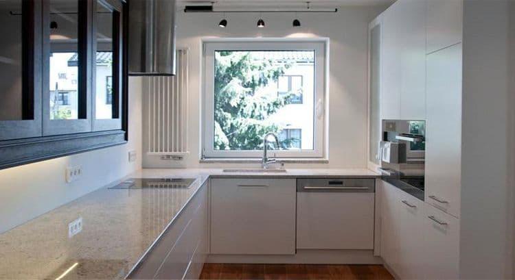 14-2 Format Design, projekt domu , projekt kuchni, lampki na szynie, grzejnik, blat kuchenny, zlewozmywak, bateria kuchenna