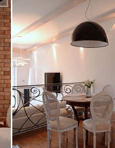14-4 Format Design, projekt domu , projekt salonu, lampa wisząca, jadalnia, płytki ceglane, projekt oświetlenia, zabudowa stropu