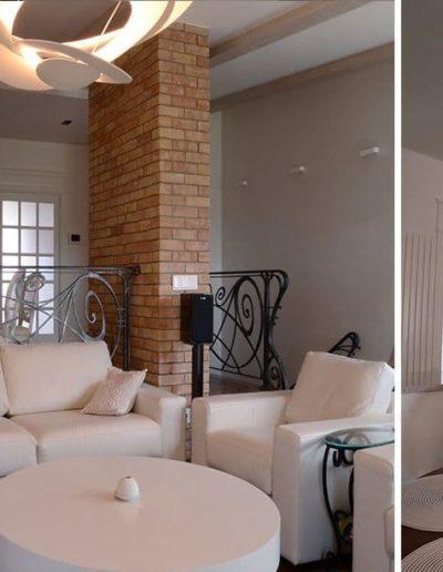 14-6 Format Design, projekt domu , projekt salonu, lampa wisząca, balustrada kuta, ceglana ściana, wypoczynek, sofa
