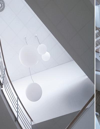 15-1 Format Design, projekt biura , projekt klatki schodowej, projekt schodów, projekt balustrady, lampy wiszące