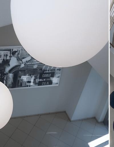 15-2 Format Design, projekt biura , projekt klatki schodowej, obraz z grafiką, projekt balustrady, lampy wiszące, poręcze