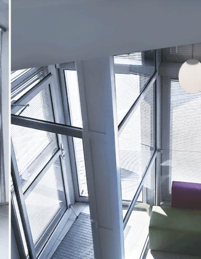 15-3 Format Design, projekt biurowca , projekt klatki schodowej, poczekalnia, siedziska, sofy, wejście, stalowa siatka