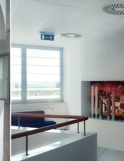 15-7 Format Design, projekt biura Poznań, projekt klatki schodowej, projekt ekspozycji, podświetlana ekspozycja