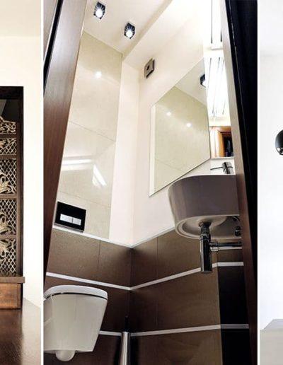 18-7 Format Design, architekt wnętrz Poznań, projekt domu, salon, lampa wisząca, stół, łazienka, podłoga drewniana, tapeta