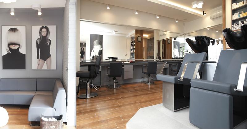 7-5 Format Design, projekt salonu fryzjersko kosmetycznego, stanowisko do mycia włosów, fotel fryzjerski