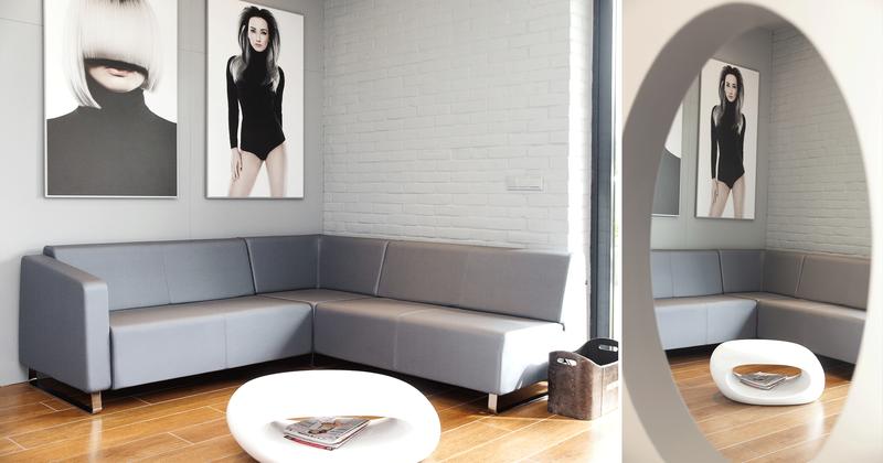 7-6 Format Design, projekt salonu fryzjersko kosmetycznego, poczekalnia, sofa, ława,
